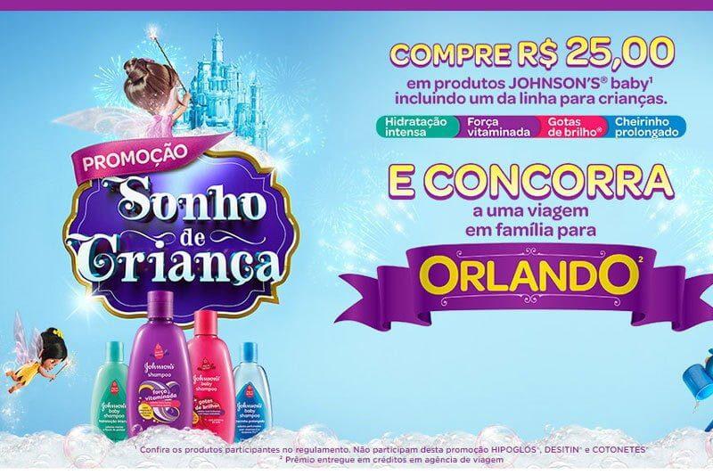 Promoção Johnsons Baby Sonho de Criança te leva para Orlando
