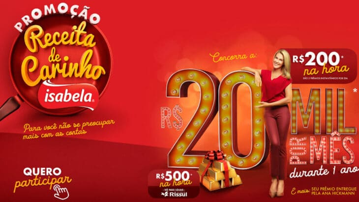 Promoção Isabela 2020: Concorra a 20 Mil por mês