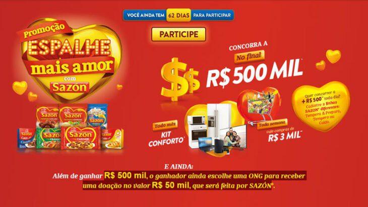 Promoção Sazon Espalhe mais Amor: Concorra a 500 Mil