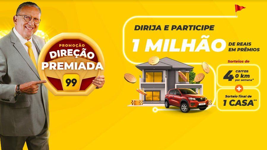 Promoção Direção Premiada para motoristas do app 99 e 99 Taxi