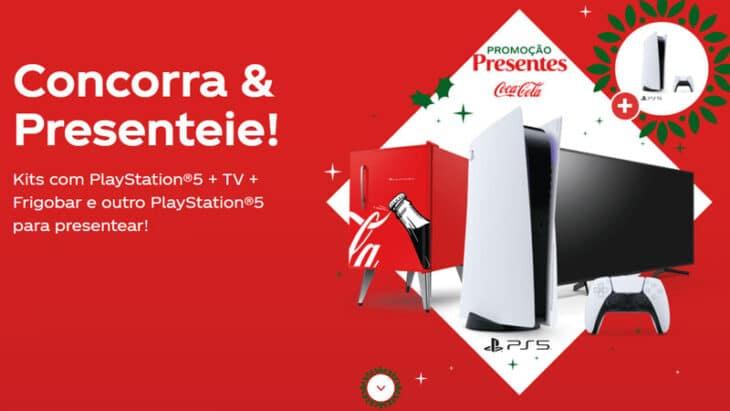 Promoção Presentes Coca-Cola: Sorteio de Play Station 5, TV 4k e muito mais