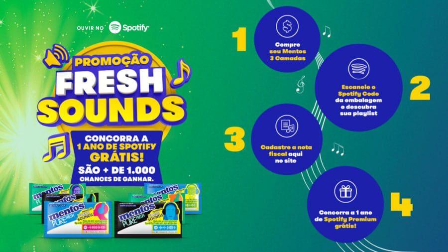 Promoção Mentos 2021 Fresh Sounds: Um ano de Spotify Grátis