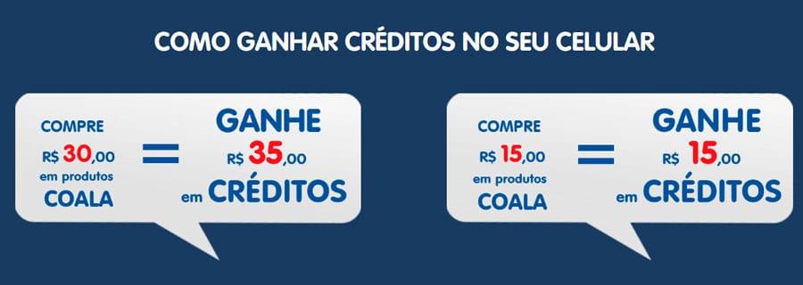 Prêmio da Promoção Coala Tá On - Ganhe até 35 reais em créditos de celular