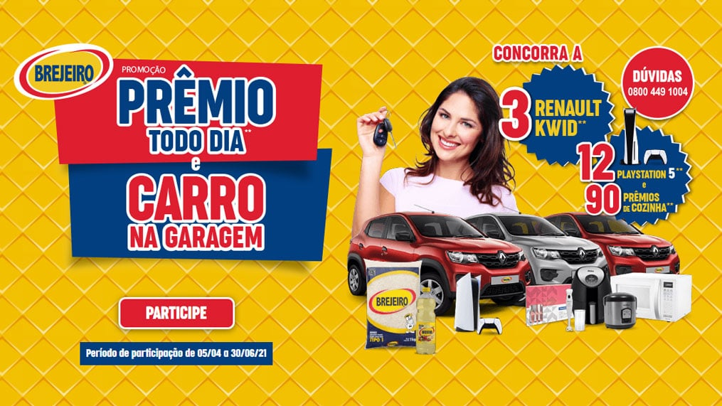 Promoção Arroz Brejeiro 2021 Prêmio todo dia carro na garagem