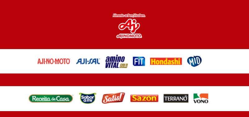 Produtos participantes promoção ajinomoto Sazón, Aji-No-Moto, Aji-Sal, Hondashi, Sabor a Mi, Receita de Casa, Fit, MID, Vono, Satis!, Amino Vital e Terrano